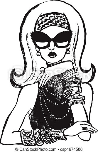 trendy woman with sunglasses - csp4674588
