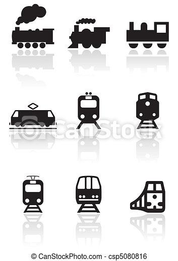 treno, simbolo, vettore, set. - csp5080816