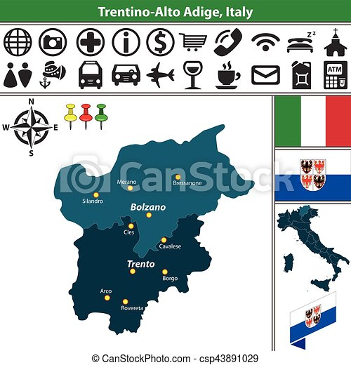 Trentino Alto Adige with regions, Italy - csp43891029