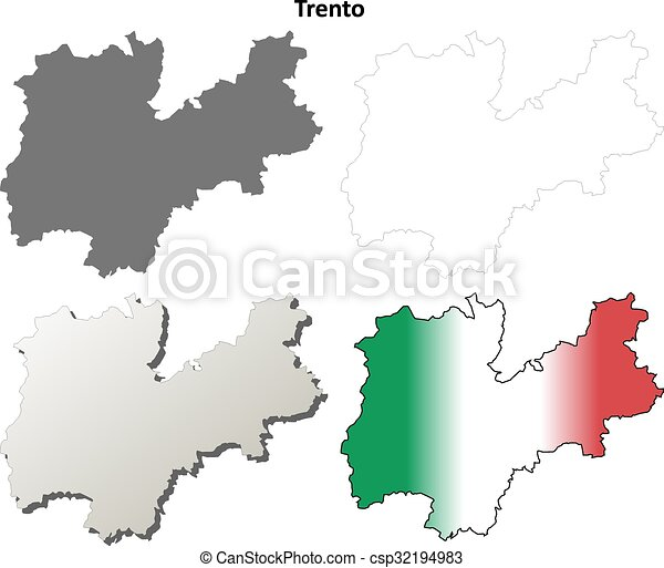 Trento blank detailed outline map set - csp32194983