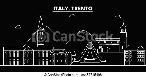 Trento silhouette skyline. Italy - Trento vector city, italian linear architecture, buildings. Trento travel illustration, outline landmarks. Italy flat icons, italian line banner - csp57715498