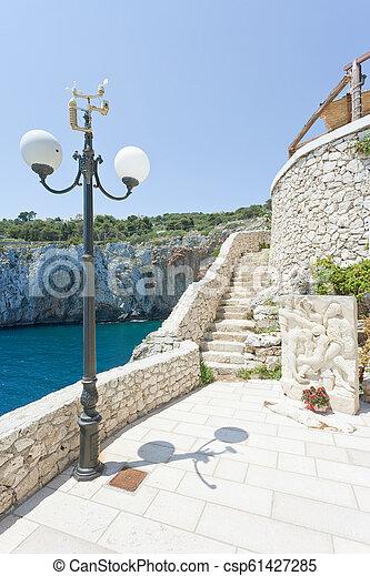 treppenhaus, grotte, grotta, -, berühmt, zinzulusa, apulia - csp61427285