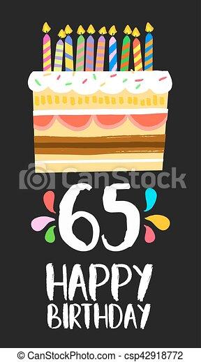 65 års fest Tres, fødselsdag, fem, 65, år, kage, card, glade. Eps10, antal, år  65 års fest