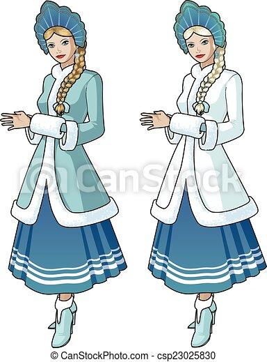 Tresse Blonds Caractère Neige Jeune Fille