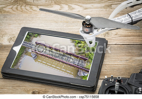 trestle of abandoned railway aerial view - csp75115658