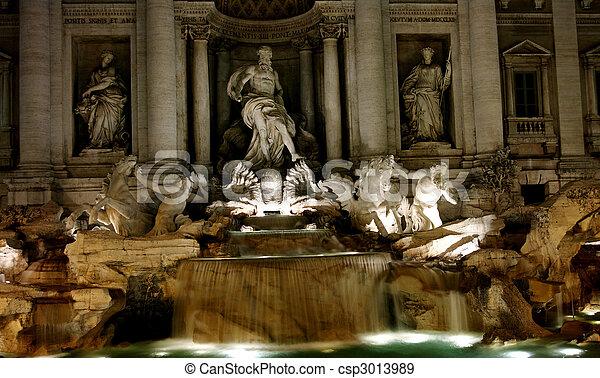 Trevi Fountain at Night - csp3013989