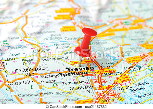 Treviso italy map Close up of treviso italy map with red