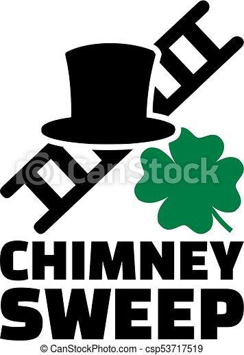 trevo, título, escada, varredura, afortunado, trabalho, chapéu, chaminé - csp53717519
