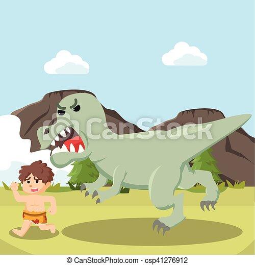 trex, caveman, correndo - csp41276912