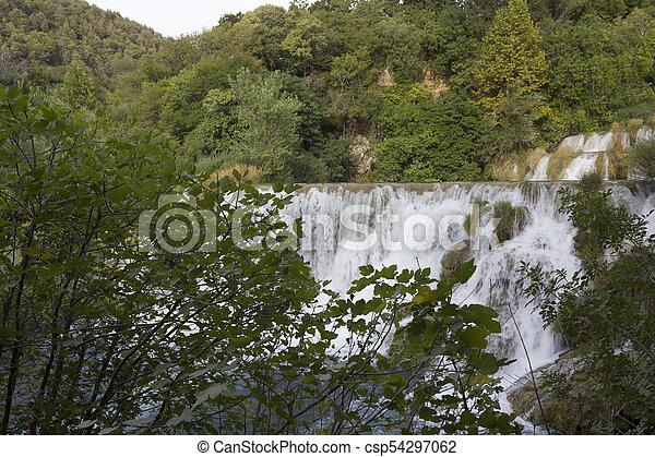 trhough, wasserfälle, krka, natur - csp54297062
