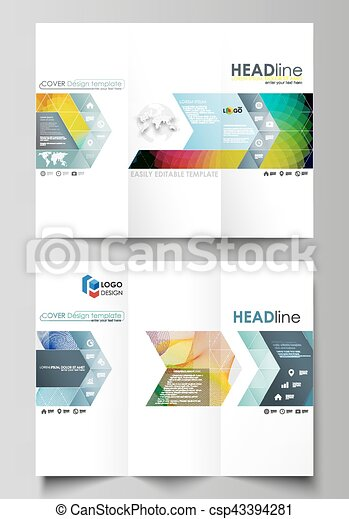 Tri-fold brochure business templates on both sides. Easy editable layout in flat style, vector illustration. Colorful design, overlapping geometric shapes, waves forming abstract beautiful background. - csp43394281