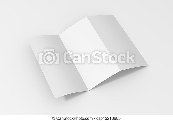 tri fold brochure mock up blank trifold paper brochure on white