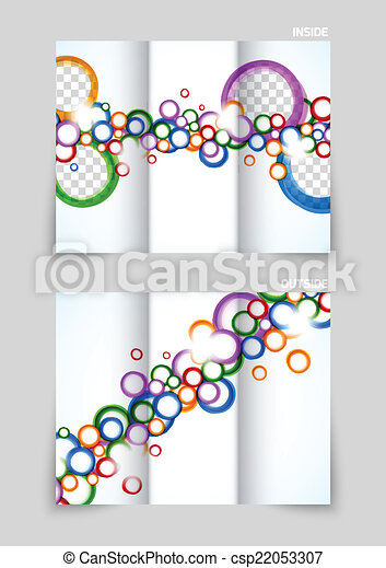Tri Fold Brochure Template Design With Colorful Circles For