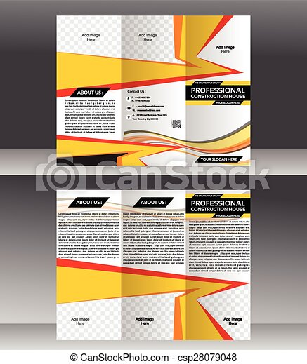 Tri Fold Construction Brochure Template Design Vector Illustration