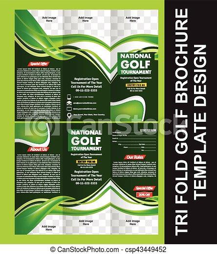 tri fold golf brochure template vector illustration