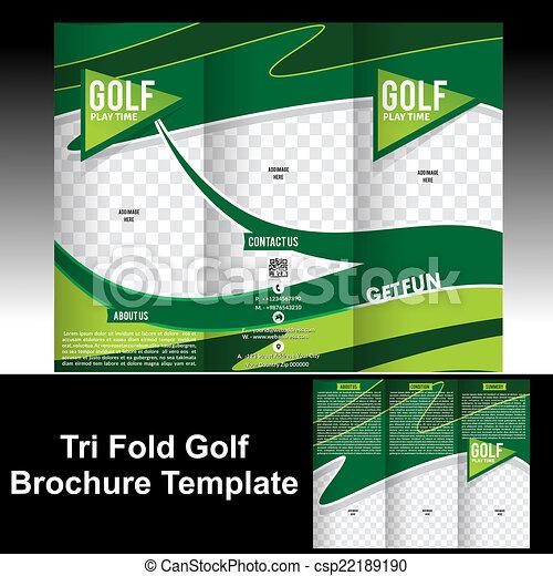 Tri Fold Golf Brochure Template Vector Illustration - Golf brochure template