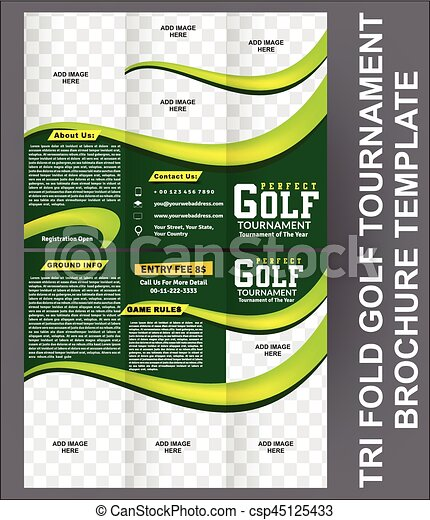Tri Fold Golf Tournament Brochure Template Vector  Vectors