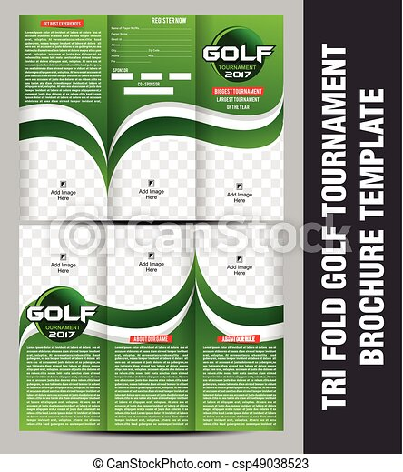 Tri Fold Golf Tournament Brochure Template Vector  Vector