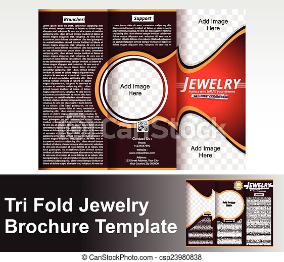 Tri Fold Jewlery Brochure Template  Tri Fold Jewelry  Vectors