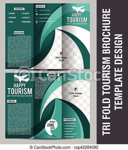 Tri Fold Tourism Brochure Template Design Vector  Eps Vectors