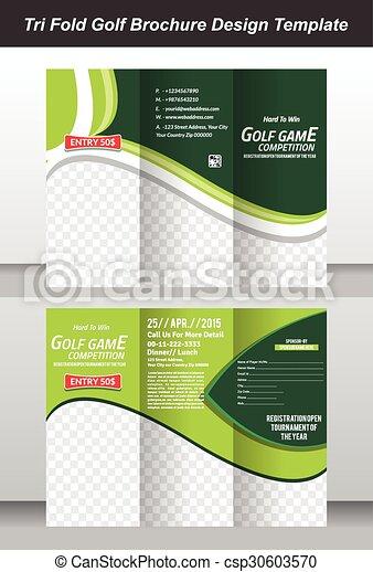 Tri Golf Brochure Template Design Vector Illustration - Golf brochure template