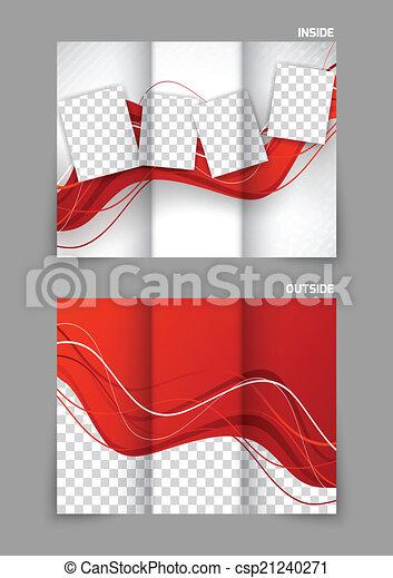 tri, pli, ondulé, rouges, brochure - csp21240271