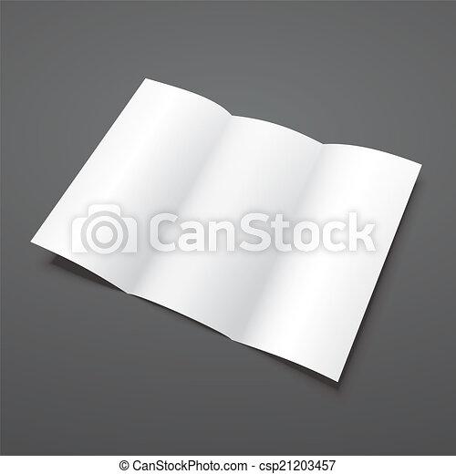 tri, pli, vecteur, vide, brochure, blanc, template. - csp21203457