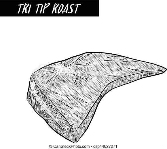 Tri tip roast Steak sketch by hand drawing. - csp44027271