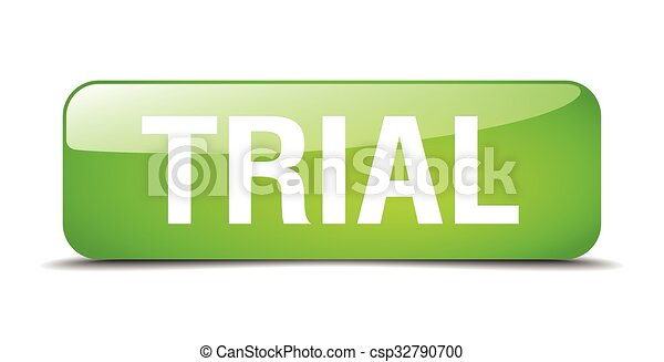 trial green square 3d realistic isolated web button - csp32790700