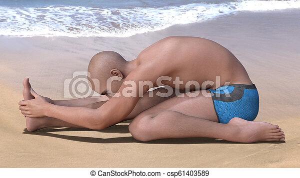 triang mukhaikapada paschimottanasana bald man in blue