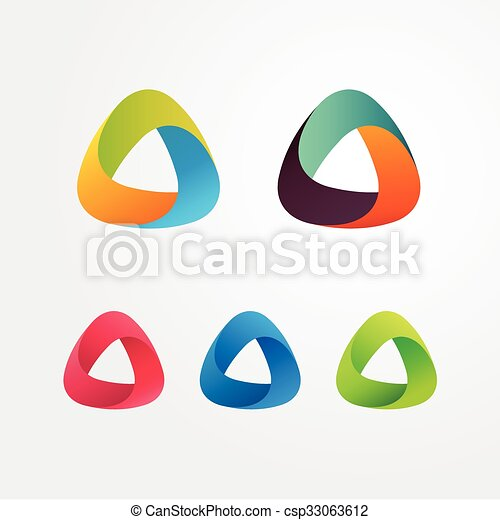 Triangle abstract logo set. Elements for business and icons. - csp33063612