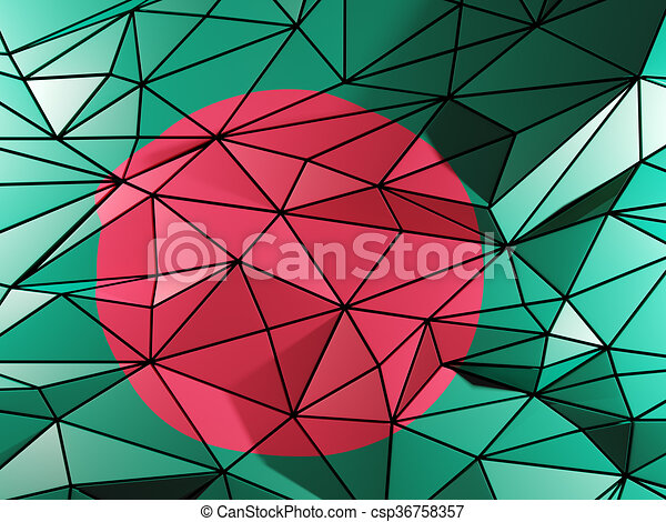 Triangle background with flag of bangladesh - csp36758357