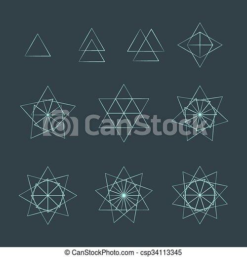triangle contour various sacred geometry set vector trigon light