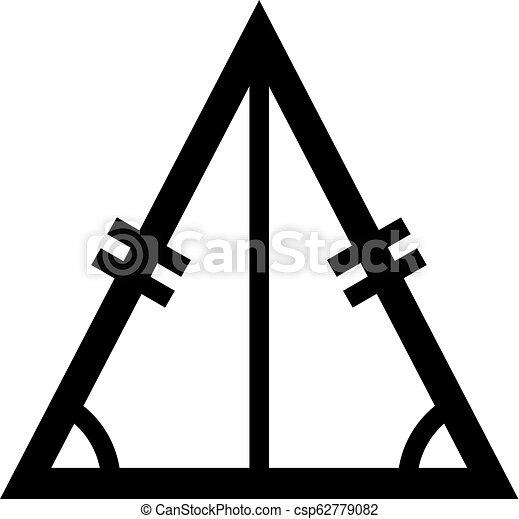 triangle, figure, isosceles, deux, égal, longueur, géométrique - csp62779082