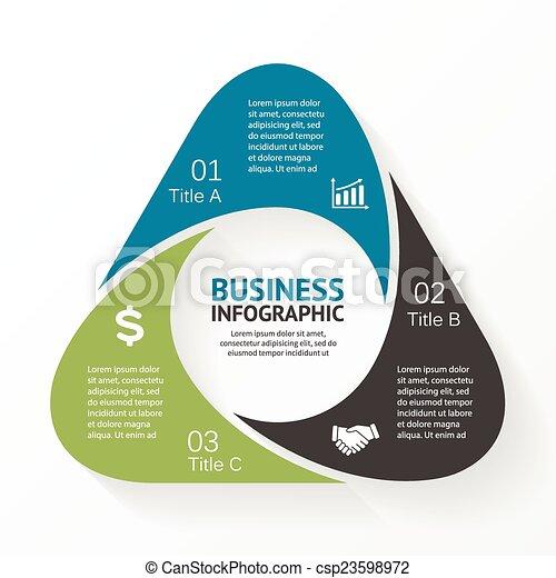 Triangle infographic, diagram, 3 options, parts. - csp23598972