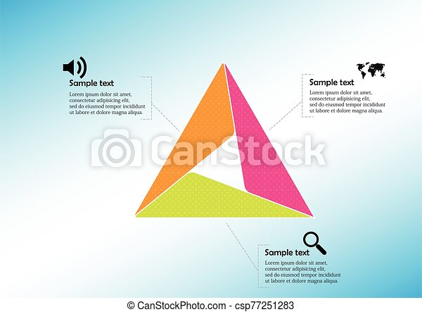 Triangle infographic template consists of three sections - csp77251283