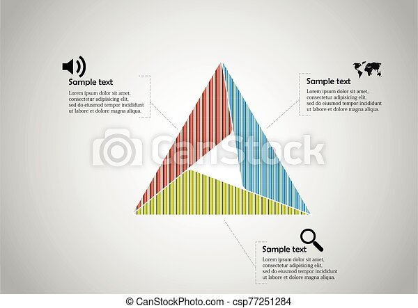 Triangle infographic template consists of three sections - csp77251284
