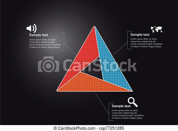 Triangle infographic template consists of three sections - csp77251285
