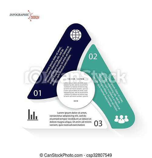 Triangle infographic Vector template can be used for presentation,  chart, web design, numbers options. Business concept with three options - csp32807549