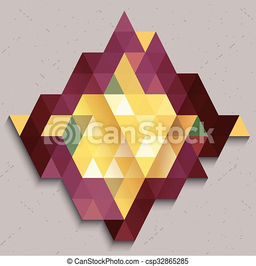 Triangle pattern in diamond shape abstract colorful - csp32865285