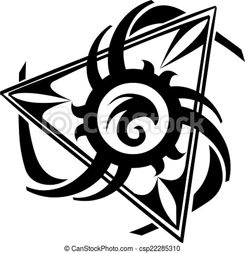 Triangle Tattoo Design Vintage Engraving Abstract Triangle Tattoo