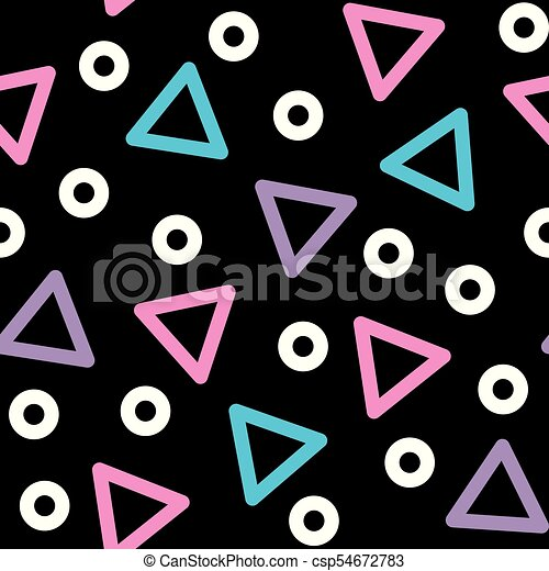 Triangle Vector Seamless Pattern 80s 90s Style Background With Geometric Shapes