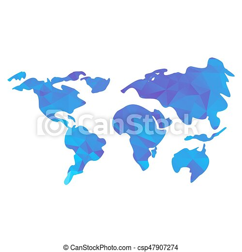Triangle world map blue triangle polygonal world map flat triangle world map csp47907274 gumiabroncs Gallery