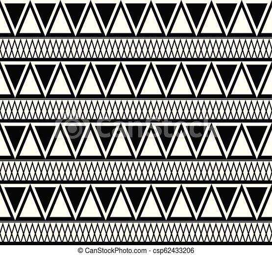triangles., modèle, texture, boho, vecteur, noir, ethnique, blanc - csp62433206