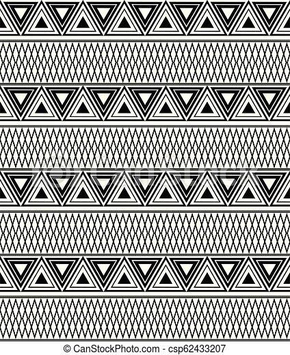 triangles., modèle, texture, boho, vecteur, noir, ethnique, blanc - csp62433207