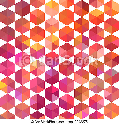 Triangles pattern of geometric shapes. Colorful mosaic backdrop. Geometric hipster retro background, place your text on the top of it. Retro triangle background. Backdrop - csp19292275