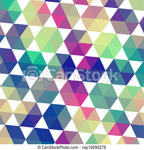 Triangles pattern of geometric shapes. Colorful mosaic backdrop. Geometric hipster retro background, place your text on the top of it. Retro triangle background. Backdrop - csp19292276