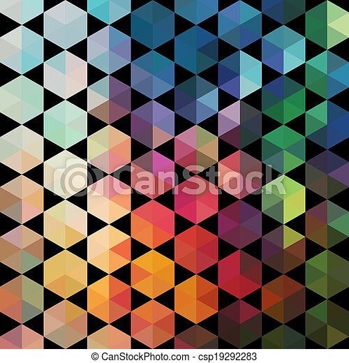 Triangles pattern of geometric shapes. Colorful mosaic backdrop. Geometric hipster retro background, place your text on the top of it. Retro triangle background. Backdrop - csp19292283