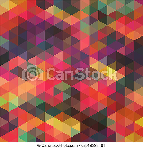 Triangles pattern of geometric shapes. Colorful mosaic backdrop. Geometric hipster retro background, place your text on the top of it. Retro triangle background. Backdrop - csp19293481