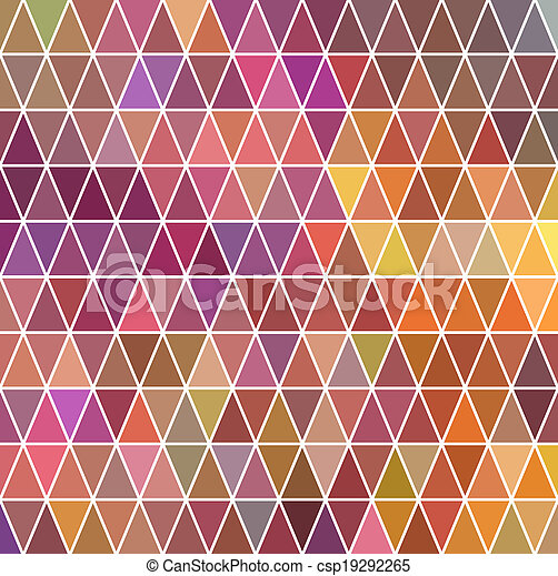 Triangles pattern of geometric shapes. Colorful mosaic backdrop. Geometric hipster retro background, place your text on the top of it. Retro triangle background. Backdrop - csp19292265